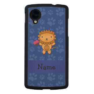 Personalized name lion cupcake blue paws carved® maple nexus 5 slim case