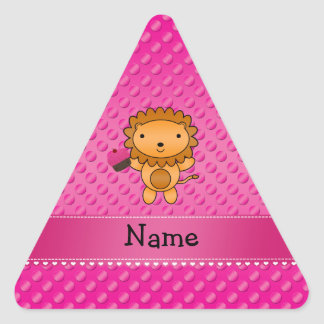 Personalized name lion cupcake pink polka dots triangle sticker