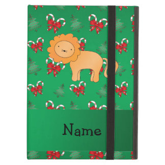 Personalized name lion green candy canes bows iPad air covers