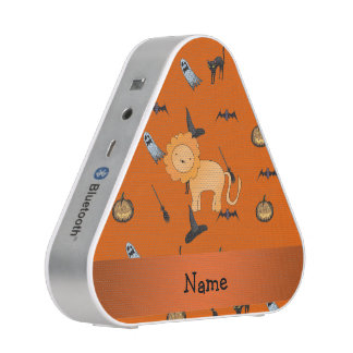 Personalized name lion halloween pattern bluetooth speaker