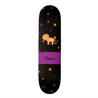 Personalized name lion halloween polka dots custom skateboard