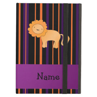Personalized name lion halloween stripes iPad air cover