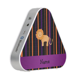 Personalized name lion halloween stripes bluetooth speaker