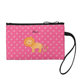 Personalized name lion pink diamonds coin wallets