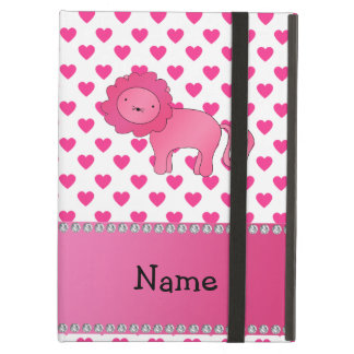 Personalized name lion pink hearts polka dots case for iPad air