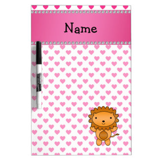 Personalized name lion pink hearts polka dots dry erase board