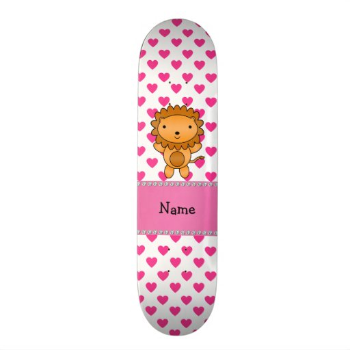 Personalized name lion pink hearts polka dots skate deck