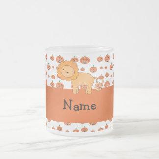 Personalized name lion pumpkins pattern coffee mugs