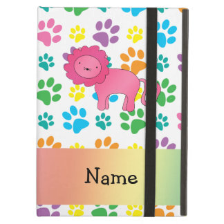 Personalized name lion rainbow paws iPad air cases