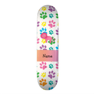 Personalized name lion rainbow paws skate boards