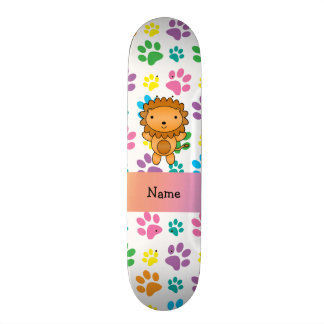 Personalized name lion rainbow paws skateboard deck
