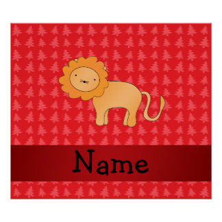 Personalized name lion red christmas trees poster