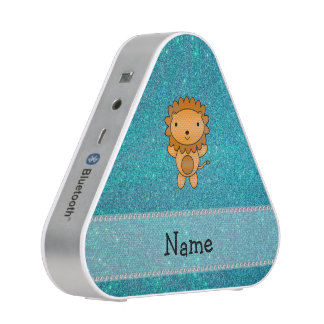 Personalized name lion turquoise glitter bluetooth speaker