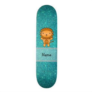 Personalized name lion turquoise glitter skateboards