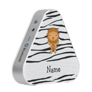 Personalized name lion zebra stripes bluetooth speaker