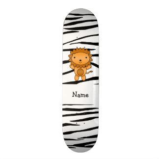Personalized name lion zebra stripes skate board