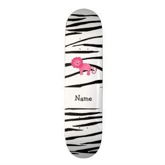 Personalized name lion zebra stripes skateboard