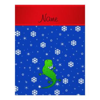 Personalized name lizard blue snowflakes 21.5 cm x 28 cm flyer