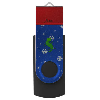 Personalized name lizard blue snowflakes swivel USB 2.0 flash drive