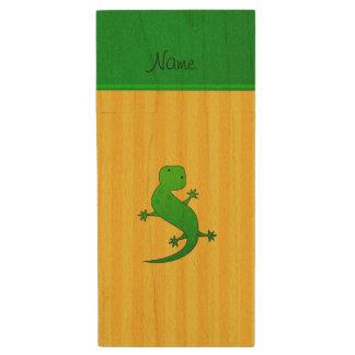Personalized name lizard yellow stripes wood USB 2.0 flash drive