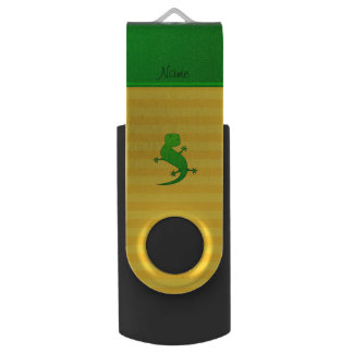 Personalized name lizard yellow stripes swivel USB 2.0 flash drive