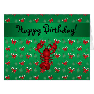 Personalized name lobster green candy canes bows big greeting card