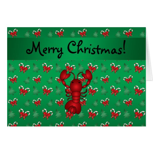 Personalized name lobster green candy canes bows card