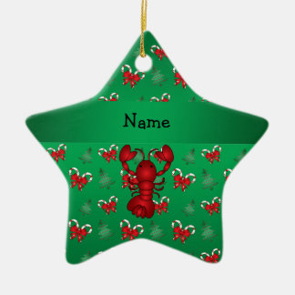 Personalized name lobster green candy canes bows ceramic star decoration