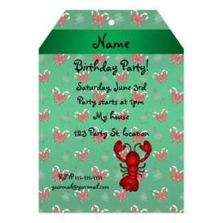 Personalized name lobster green candy canes bows cards