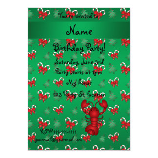 Personalized name lobster green candy canes bows personalized invitation