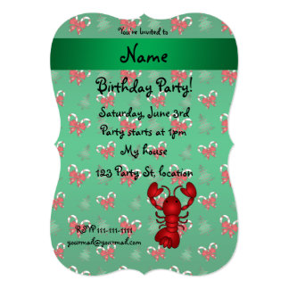 """Personalized name lobster green candy canes bows 5"""" x 7"""" invitation card"""