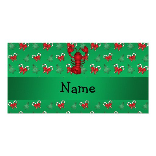 Personalized name lobster green candy canes bows customized photo card
