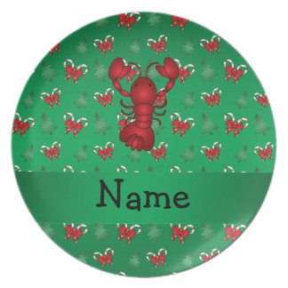 Personalized name lobster green candy canes bows plate