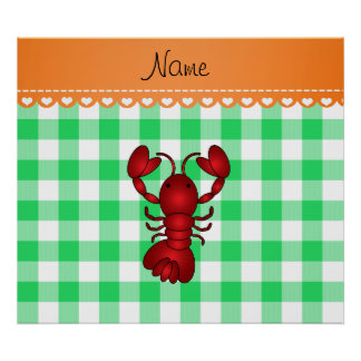 Personalized name lobster green checkers poster