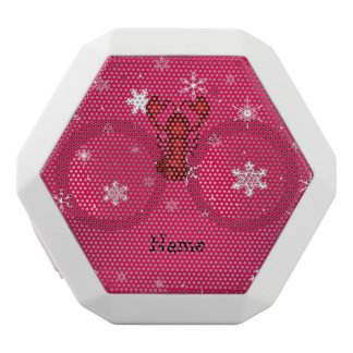 Personalized name lobster pink snowflakes white boombot rex bluetooth speaker