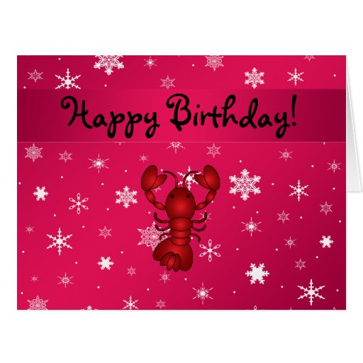 Personalized name lobster pink snowflakes greeting card
