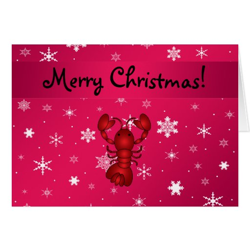 Personalized name lobster pink snowflakes cards