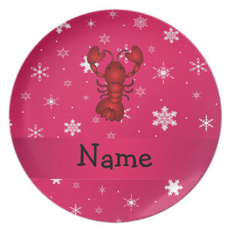 Personalized name lobster pink snowflakes dinner plates