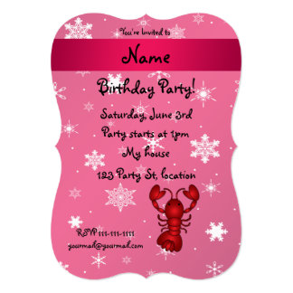 """Personalized name lobster pink snowflakes 5"""" x 7"""" invitation card"""