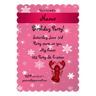 Personalized name lobster pink snowflakes card