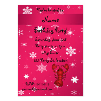 Personalized name lobster pink snowflakes personalized announcement