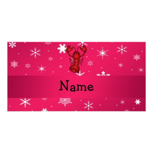 Personalized name lobster pink snowflakes photo greeting card