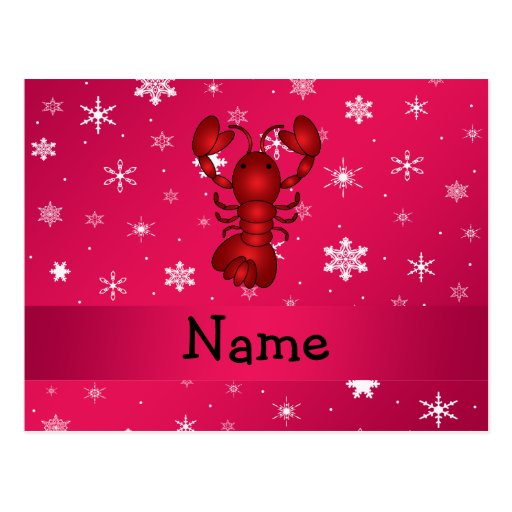Personalized name lobster pink snowflakes postcard