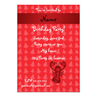 Personalized name lobster red christmas trees 13 cm x 18 cm invitation card