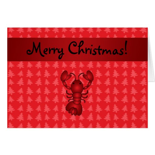 Personalized name lobster red christmas trees cards