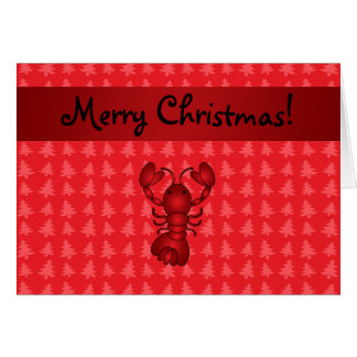 Personalized name lobster red christmas trees greeting card