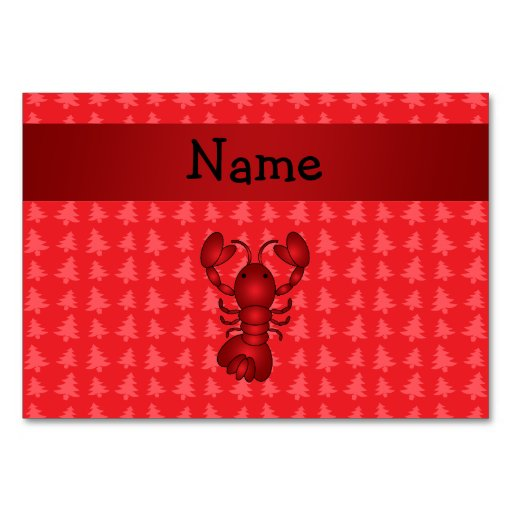 Personalized name lobster red christmas trees table card