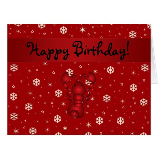 Personalized name lobster red snowflakes greeting cards