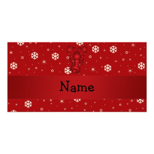 Personalized name lobster red snowflakes photo cards