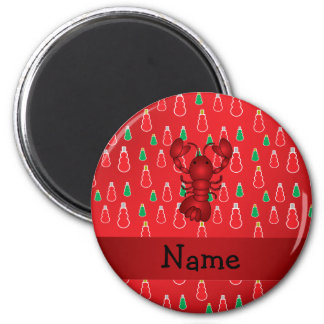 Personalized name lobster red snowmen 6 cm round magnet